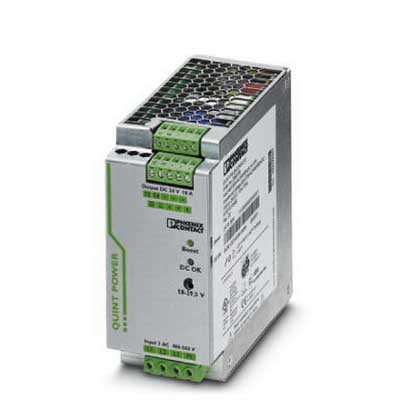 Phoenix 2866705 QUINT-PS/ 3AC/24DC/10 Power Supply Unit; 10/15 Amp, 24 Volt DC Output, 3 Phase, Horizontal and NS 35 DIN Rail Mount