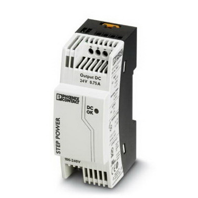Phoenix Contact Phoenix 2868635 STEP-PS/ 1AC/24DC/0.75 Power Supply Unit; 0.75/0.83/1.4 Amp, 24 Volt DC Output, 1 Phase, Horizontal and NS 35 DIN Rail Mount