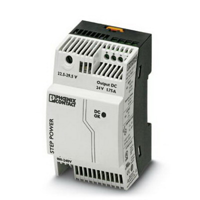 Phoenix 2868648 STEP-PS/ 1AC/24DC/1.75 Primary-Switched Mode Power Supply Unit; 1.75/1.9/3.75 Amp, 24 Volt DC Output, 1 Phase, Horizontal and NS 35 DIN Rail Mount