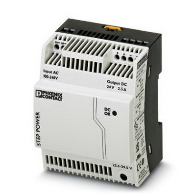 Phoenix Contact Phoenix 2868651 STEP-PS/ 1AC/24DC/2.5 Power Supply Unit; 2.5/2.75/4.4 Amp, 24 Volt DC Output, 1 Phase, 60 Watt, Horizontal and NS 35 DIN Rail Mount