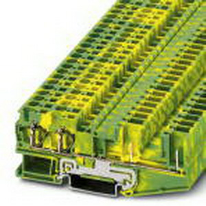 Phoenix Contact Phoenix 3042858 Ground Terminal Block; Spring-Cage/Plug-In Connection, NS 35/7.5, NS 35/15 DIN Rail Mount, Polyamide, Green/Yellow