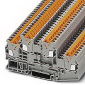 Phoenix Contact Phoenix 3205116 Double-Level Terminal Block; 17.5 Amp, 500 Volt, Quick Connection, NS 35/7.5, NS 35/15 DIN Rail Mount, Polyamide, Gray
