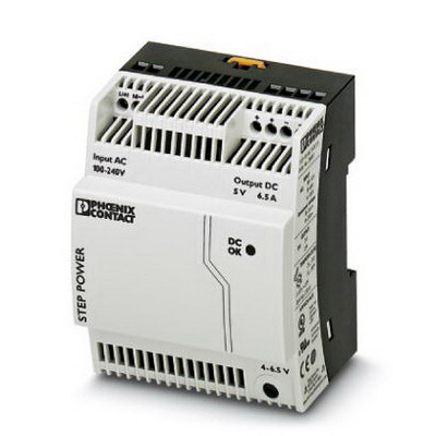 Phoenix Contact Phoenix 2868541 STEP-PS/ 1AC/ 5DC/6.5 Power Supply Unit; 6.5/7.1/11.5 Amp, 5 Volt DC Output, 1 Phase, Horizontal and NS 35 DIN Rail Mount