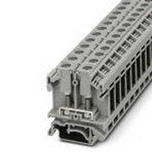 Phoenix 0790433 Terminal Block; 41 Amp, 800 Volt, M4 Bolt Connection, NS 35/7.5, NS 35/15, NS 32 DIN Rail Mount, Polyamide, Gray
