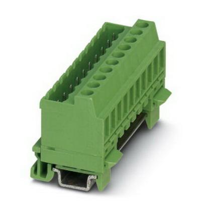 Phoenix Contact Phoenix 1788761 MSTBVK 2.5/ 6-G-5.08 Base Strip/Plug Component; 4 Kilo-Volt (Surge), 320 Volt (Rated III/2), 12 Amp, Green, DIN Rail