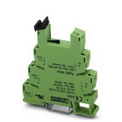 Phoenix 2967772 PLC-BSC- 24DC/21HC Relay Socket; 24 Volt AC/DC Input, NS 35/7.5 Din Rail Mount