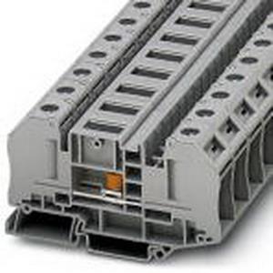 Phoenix Contact Phoenix 3049039 Test Disconnect Terminal Block; 41 Amp, 1000 Volt, M5, M4 Bolt Connection, NS 35/7.5, NS 35/15 DIN Rail Mount, Polyamide, Gray