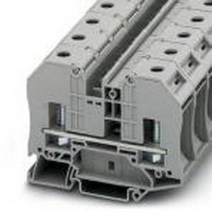 Phoenix 3049042 Feed-Thru Terminal Block; 125 Amp, 1000 Volt, M8 Bolt Connection, 1 Position, Polyamide, Gray