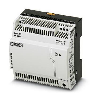 Phoenix Contact Phoenix 2868677 STEP-PS/ 1AC/24DC/3.8/C2LPS Power Supply Unit; 3.8/6.5 Amp, 24 Volt DC Output, 1 Phase, Horizontal and NS 35 DIN Rail Mount