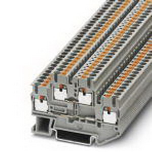 Phoenix 3210567 Double-Level Terminal Block; 22 Amp, 500 Volt, Push-In Connection, NS 35/7.5, NS 35/15 DIN Rail Mount, Polyamide, Gray