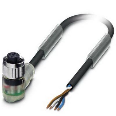 Phoenix 1668302 SAC-4P- 5,0-PUR/M12FR-3L Sensor/Actuator Cable; 5 m, 4 Position, PUR Halogen-Free, Black-Gray RAL 7021