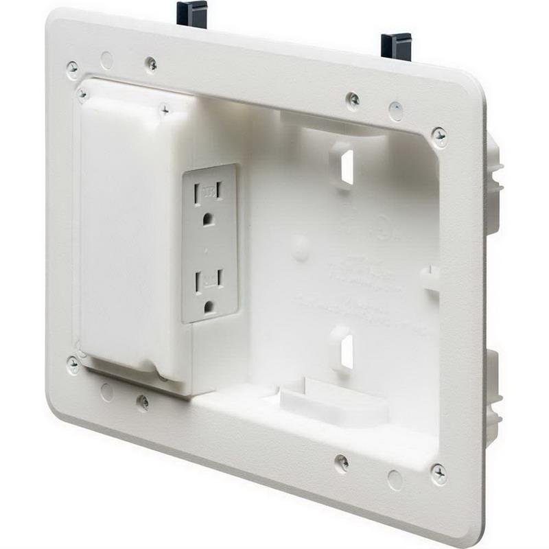 Arlington TVL508 TV Bridge™ TV Box Kit With Shallow Wall Cavity; Plastic, White