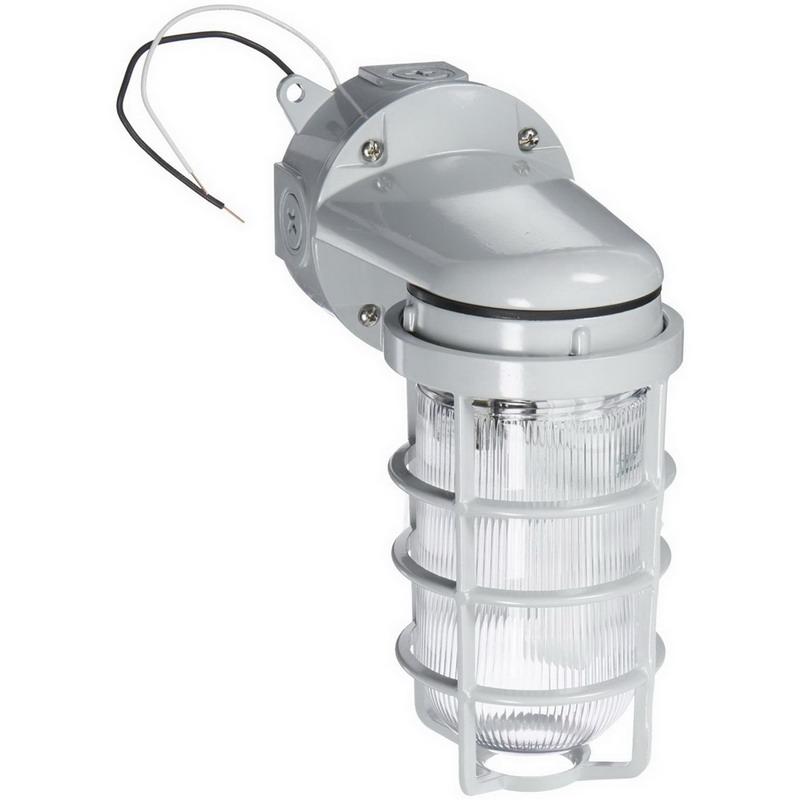 RAB VXBR100DGS Vaporproof Light Fixture 1 150 Watt A19 Incandescent  Gray  Silver