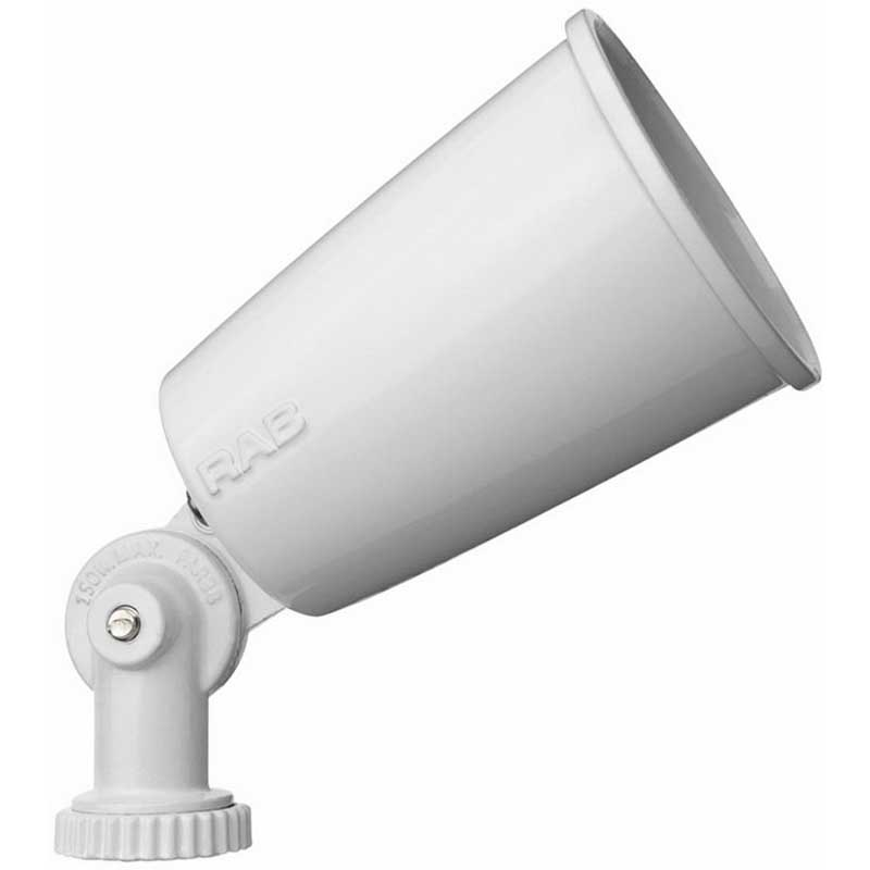 RAB R90W Floodlight Lamp Holder; 120 Volt, 150 Watt, Precision Die-Cast Aluminum, White Epoxy Powder-Coated