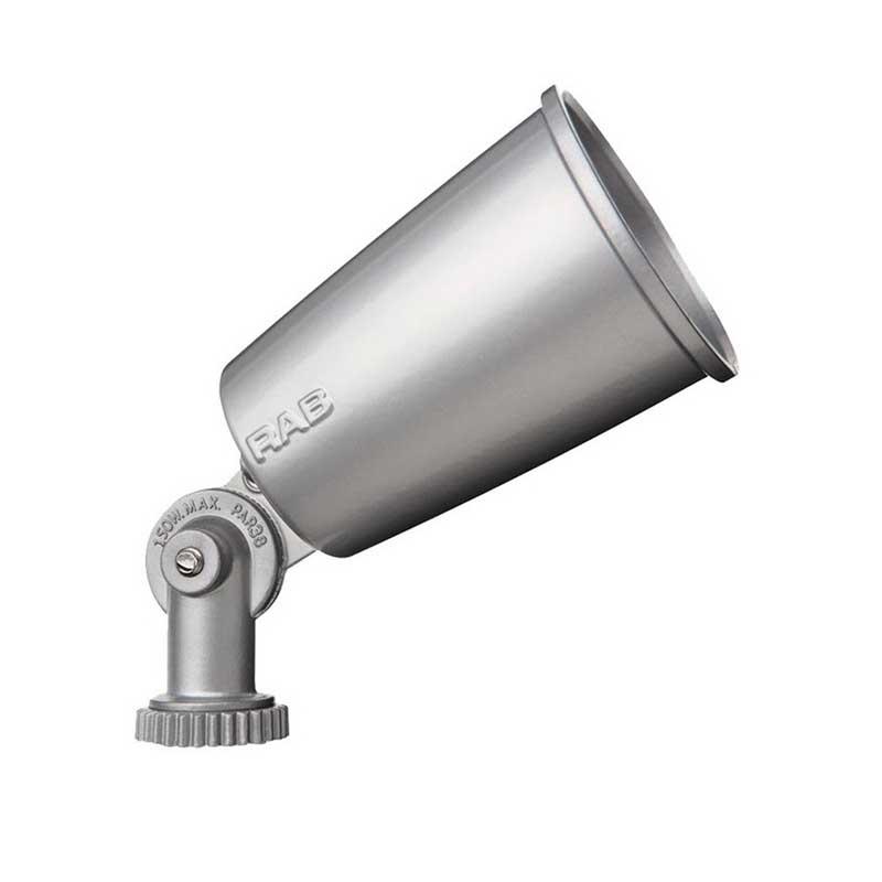 RAB R90S Floodlight Lamp Holder; 120 Volt, 150 Watt, Precision Die-Cast Aluminum, Silver Gray Epoxy Powder-Coated
