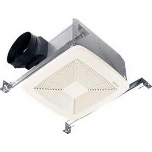 Broan Nu-Tone QTXE080 Bath Exhaust Fan; 23.3 Watt, 120 Volt, 0.2 Amp, 60 Hz, Horizontal Duct, Ceiling Mount, 80/55 cfm, 650 RPM, 0.3 Sones, Rectangular, Polymeric Grille, White
