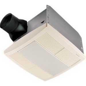 Broan Nu-Tone QTR080L Bath Fan With Night Light; 56.6 Watt, 120 Volt, 1.6 Amp, 80/66 cfm, 1 Sones, Horizontal Duct, Ceiling Mount Rectangular Polymeric Grille, White