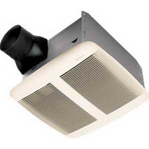 Broan Nu-Tone QTR110 Ultra Silent Bath Fan; 70.5 Watt, Horizontal Duct, Ceiling Mount, 110/98 cfm, 780 RPM, 1.5 Sones, Rectangular, Polymeric Grille, White