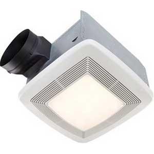 Broan Nu-Tone QTXE080FLT Bath Fan With Light; 23.3 Watt, 120 Volt, 0.8 Amp, 60 Hz, Horizontal Duct, Ceiling Mount, 80/55 cfm, 650 RPM, 0.3 Sones, Rectangular, Polymeric Grille, White