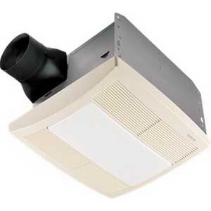 Broan Nu-Tone QTRE080FLT Bath Exhaust Fan With Light; 28.4 Watt, 120 Volt, 0.9 Amp, 60 Hz, Horizontal Duct, Ceiling Mount, 80/55 cfm, 0.8 Sones, Rectangular, Polymeric Grille, White