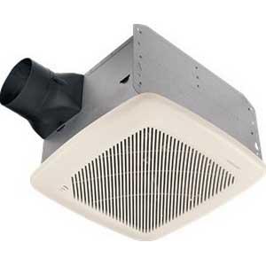 Broan Nu-Tone QTRE100S Humidity Sensing Fan With Sensaire Technology; 36.3 Watt, 120 Volt, 0.3 Amp, Horizontal Duct, Ceiling Mount, 100 cfm, 1.5 Sones, Rectangular, Polymeric Grille, White