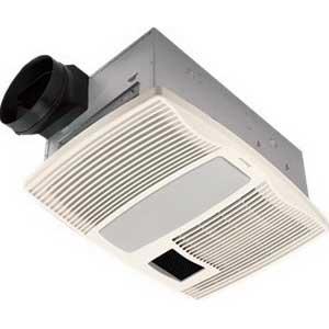 "Broan Nu-Tone QTX110HFLT Fan With Heater/Light 42.8 Watt, 1500 Watt Heater, 120 Volt, 13.5 Amp, 0.9 Sones, Horizontal Duct, Ceiling Mount, Polymeric Grille, White,"""