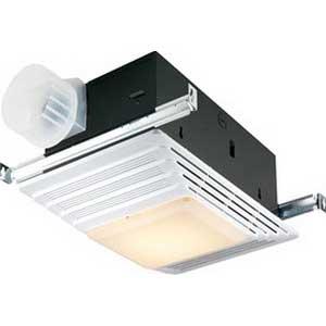 "Broan Nu-Tone 655 Fan With Heater/Light 1536 Watt, 1300 Watt Heater, 120 Volt, 12.8 Amp, 4 Sones, Horizontal Duct, Ceiling Mount, Rectangular Polymeric Grille, White,"""