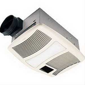 "Broan Nu-Tone QTXN110HFLT Fan With Heater/Light 42.8 Watt, 1500 Watt Heater, 120 Volt, 13.5 Amp, 0.9 Sones, Horizontal Duct, Ceiling Mount, Polymeric Grille, White,"""