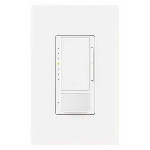 Lutron MS-VP600M-LA Maestro® Single-Pole Multi-Location Passive Infrared Vacancy Sensor with Dimmer; 120 Volt 900 Sq ft (Major Motion), 400 Sq ft (Minor Motion), Manual-On/Auto-Off, Light Almond