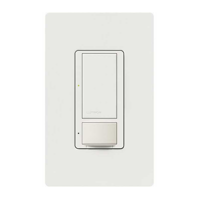 Lutron MS-OP600M-WH Maestro® Single-Pole Multi-Location Passive Infrared Occupancy/Vacancy Sensor with Dimmer; 120 Volt 900 Sq ft (Major Motion), 400 Sq ft (Minor Motion), Auto-On/Auto-Off or Manual-On/Auto-Off, White