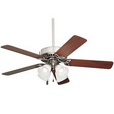 Emerson CF711BS Pro Series ll™ Ceiling Fan With Light Kit; 50 Inch, Wood, Brushed Steel Housing, Dark Cherry/Mahogany Blades, Alabaster Swirl Glass