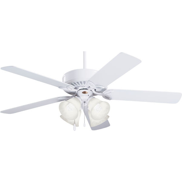 Emerson CF711WW Pro Series ll™ Ceiling Fan With Light Kit; 50 Inch, Wood, Appliance White Housing, Appliance White/Bleached Oak Blades, Alabaster Swirl Glass