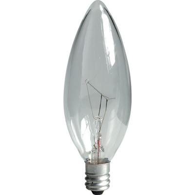 GE Lamps 40BC/CL/PRO-130 Proline® Incandescent Bulb; 40 Watt, 130 Volt, B10, Candelabra Base, 1500 Hour Life, Clear