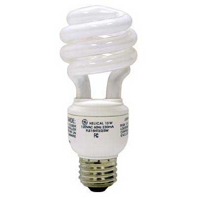 GE Lamps FLE13HT3/2/SW T3 Spiral Compact Fluorescent Lamp; 13 Watt, 2700K