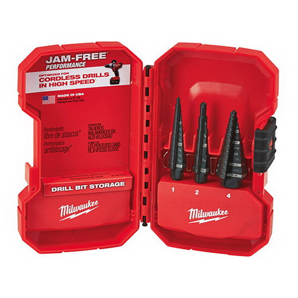Milwaukee Tools 48-89-9221 Step Drill Bit Set; 1/8 to 7/8 Inch, 3-Flat Secure-Grip Shank, Black Oxide