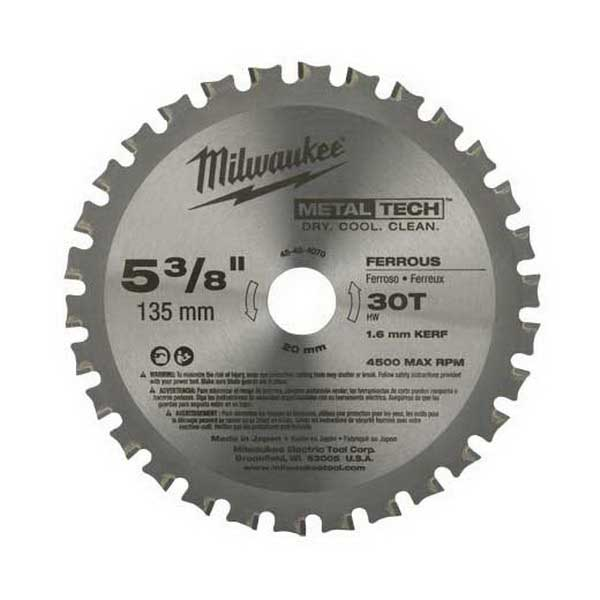 Milwaukee Tool  48-40-4070 Metaltech™ M18&Trade; Ferrous Metal Circular Saw Blade; 5-3/8 Inch, 20 Mm Arbor, 30 Teeth