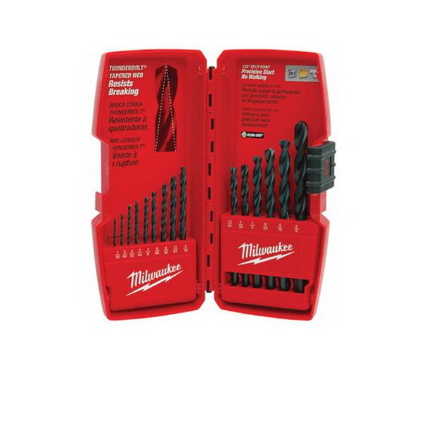 Milwaukee Tool  48-89-2803 Thunderbolt Drill-Bit Set 15 Piece- Black Oxide-