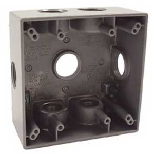Hubbell Electrical / RACO 5346-0 2-Gang Weatherproof Box 4-1/2 Inch Width x 2-1/4 Inch Depth x 4-1/2 Inch Height  Die-Cast Aluminum  Gray