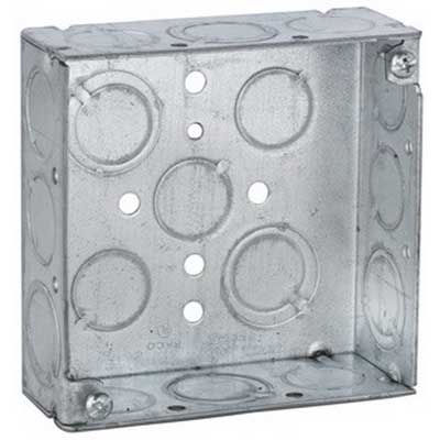 Hubbell Electrical / RACO 189 4 Inch Square Box; 1-1/2 Inch Depth, Steel, 21 Cubic-Inch, 17 Knockouts