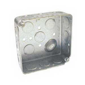 Hubbell Electrical / RACO 190 4 Inch Square Box; 1-1/2 Inch Depth, Drawn Steel, 21 Cubic-Inch, 17 Knockouts