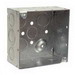 Hubbell Electrical / RACO 232 4 Inch Square Box; 2-1/8 Inch Depth, Steel, 30.3 Cubic-Inch, 16 Knockouts