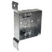 Hubbell Electrical / RACO 218 4 Inch Square Box With MC/BX Cable Clamps and Wood/Metal Stud Bracket; 1-1/2 Inch Depth, Steel, 21 Cubic-Inch, 4 Knockouts
