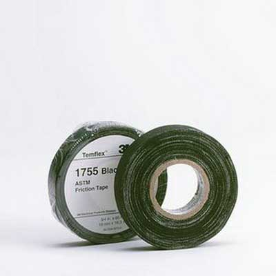 3M 1755-1X60FT Temflex™ 1755 Series Economy Grade Friction Tape; 60 ft Length x 1 Inch Width x 13 mil Thick, Black