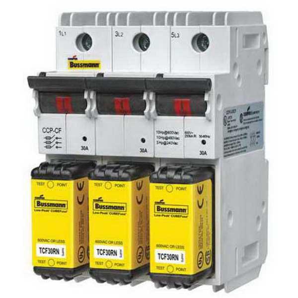 Bussmann CCP-3-60CF Low-Peak® Compact Circuit Protector; 60 Amp, 600 Volt AC, 3-Pole, 35 mm DIN Rail Mount