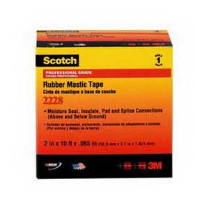 3M 2228-2X10FT Scotch® 2228 Series Professional and Premium Grade Mastic Tape; 10 ft Length x 2 Inch Width x 65 mil Thick, Black