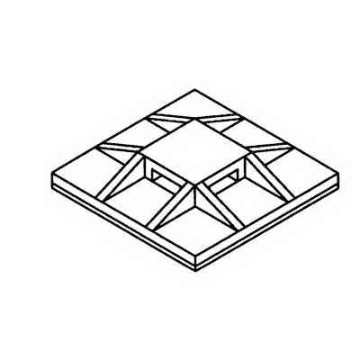 3M 06294 06290-Series Cable Tie Mounting Base; 0.750 Inch x 0.750 Inch x 0.220 Inch, Nylon, Natural