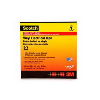 3M 22-1x36YD Scotch® 22 Series Heavy Duty Electrical Tape; 36 yard Length x 1 Inch Width x 10 mil Thick, Black