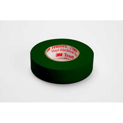 3M 1700C-GREEN Temflex™ 1700C Series Premium Grade Electrical Color Coding Tape; 600 Volt, 66 ft Length x 3/4 Inch Width x 7 mil Thick, Green