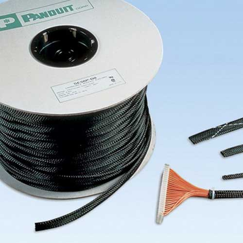 Panduit SE75P-CR0 Braided Expandable Sleeving; 0.750 Inch ID, 0.500 - 1.25 Inch, Polyethylene Terephthalate, Black