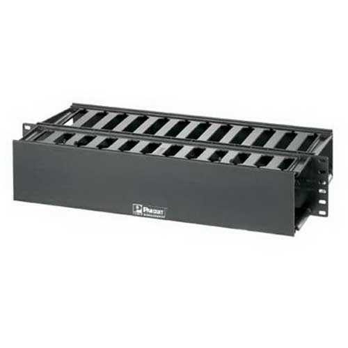 Panduit WMP1E PatchLink™ Front and Rear Horizontal Cable Manager; Panel Mount, 2-Rack Unit, ABS Plastic, Black, Powder-Coated